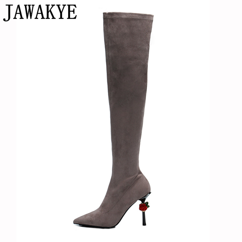 2018 Fall winter black brown Over The Knee Boots stretch red rose flowers decor super 10cm