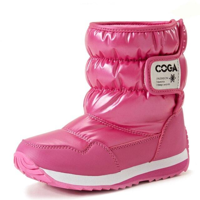 Kinder Winter Schnee Stiefel Mode Candy Farbe Jungen und Mädchen Pailletten Wasserdichte Schuhe,Rosa,23