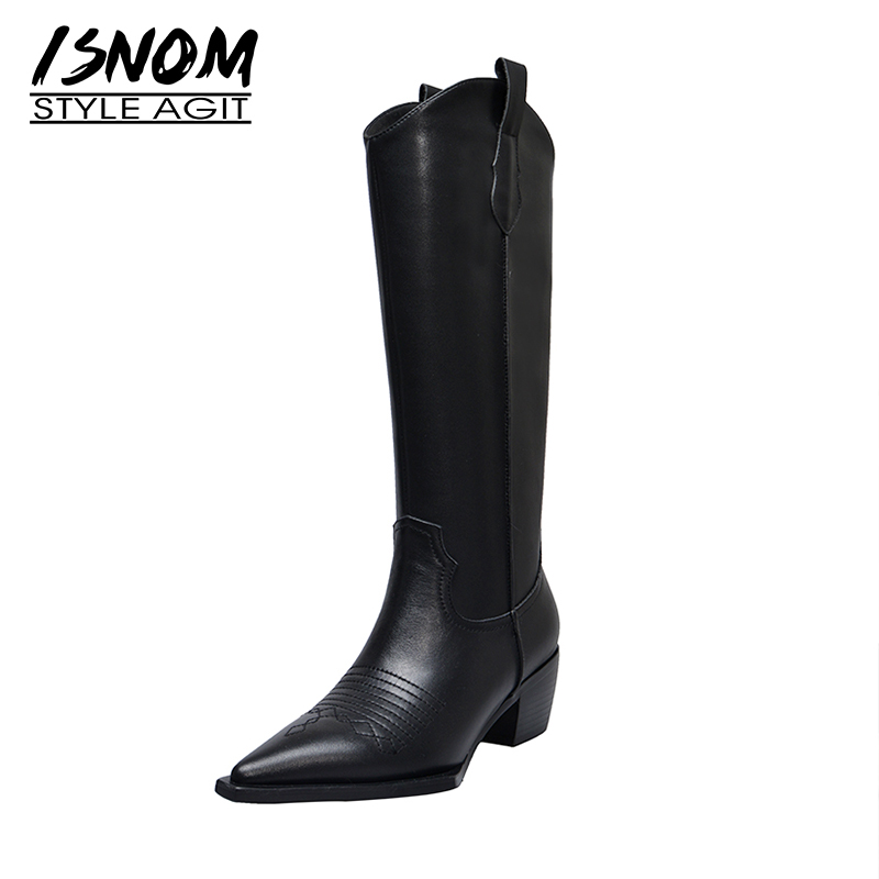 ISNOM Western Boots Women Knee High Cowboy Boots Fashion Pointed Toe Sewing Shoes Female High Heels Thick Shoes Ladies Autumn