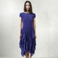 Miyake bahar ve yaz elbise düzensiz elbise boy Mavi Mor Elbise elastik kat pilili elbiseler ücretsiz nakliye