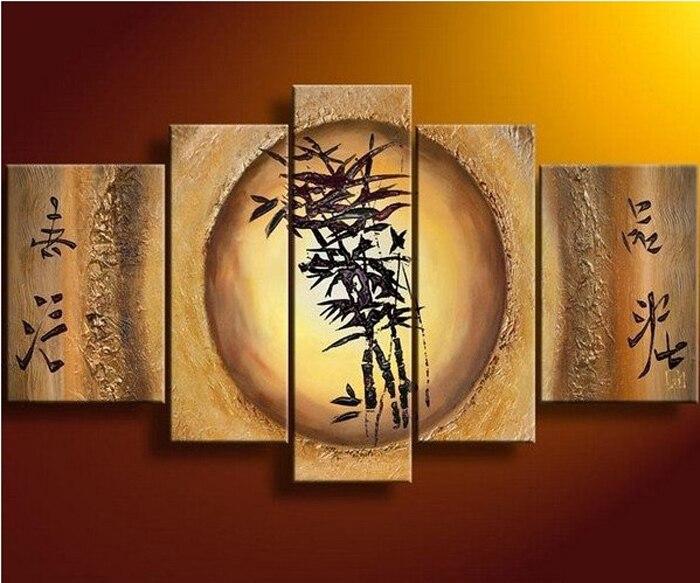 100% ruční žlutá bambusová krajina dekorace umění domácí výzdoba plátno olejomalba 5ks / sada obrázků pověsit na zeď