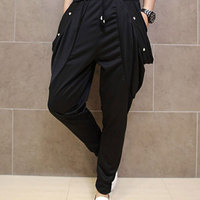 Fashion Men`s Studded Harem Pants Punk Style Skinny Hip Hop Harem Joggers Trousers For Man With Rivet