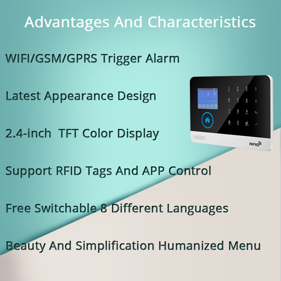 Image 5 - Free shipping.Newest Wireless Home Security WIFI GSM SIM card EN RU ES PL DE Switchable Alarm system APP RFID Remote Control-in Alarm System Kits from Security & Protection