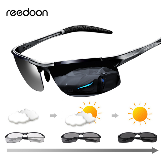 Reedoon Photochromic Sunglasses Polarized Lens UV400 Aluminium Magnesium Frame Driving Goggles For Men High Quality