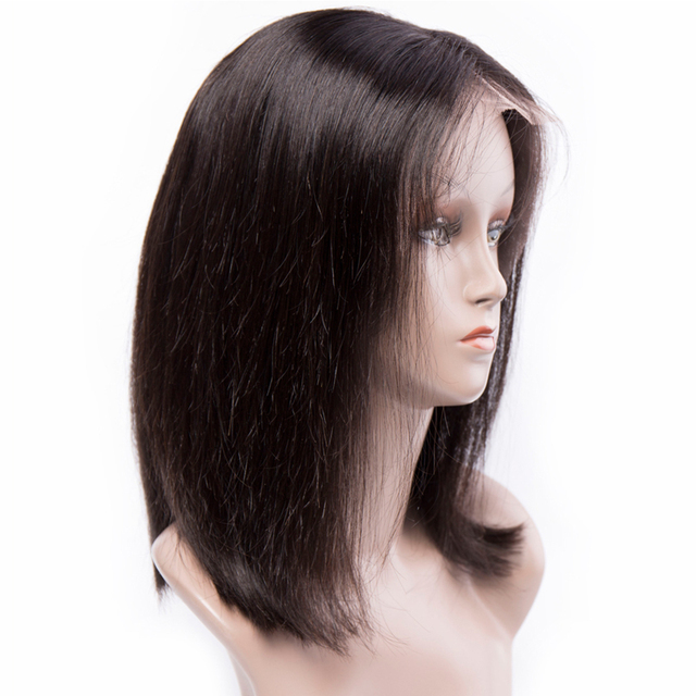 Straight Short Bob Remy Human Front Lace Hair Wig