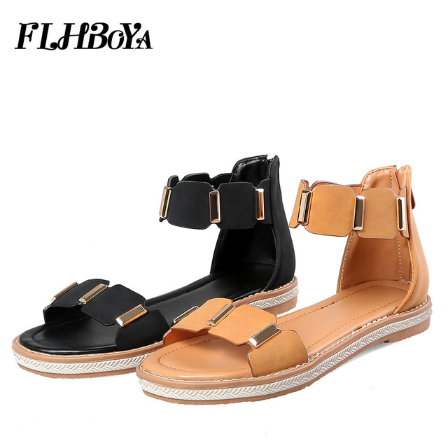 8a88e175492 New Gladiator Sandals women solid Ankle Strap beach shoes lady metal  leather designer woman black peep toe flats Shoes sandals