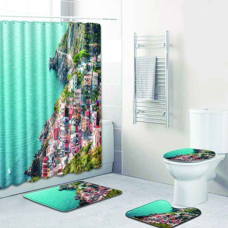 Seaside City Scenery 4pcs/set Shower Curtain Pedestal Rug Lid Toilet Cover Mat Bath Set Bathroom Curtains with 12 Hooks