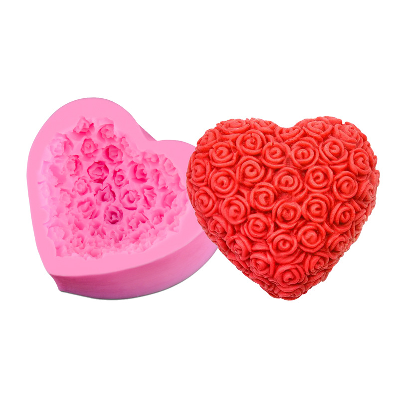 DIY Love Heart Rose Flower Silicone Mold Cake Decorating Chocolate Cupcake Mould