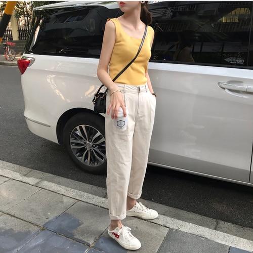 Nueva Alta cintura suelta pantalones vaqueros, ocio patas, traje recto, pantalones de Haren hembra nueve pantalones de rábano.