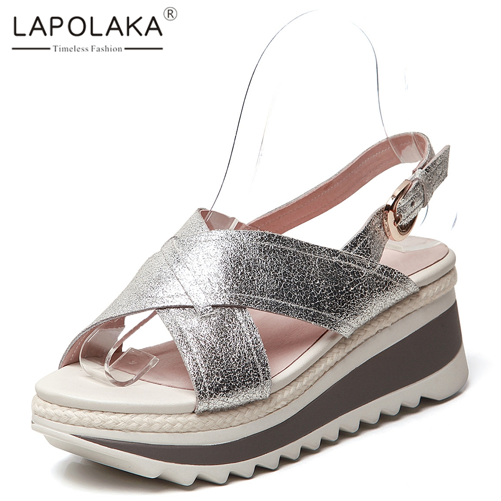 Lapolaka 2019 New Hot Sale Genuine Cow Leather Shoes Sandals Woman Summer Platform Woman Women Wedges Shoes WomanLapolaka 2019 New Hot Sale Genuine Cow Leather Shoes Sandals Woman Summer Platform Woman Women Wedges Shoes Woman
