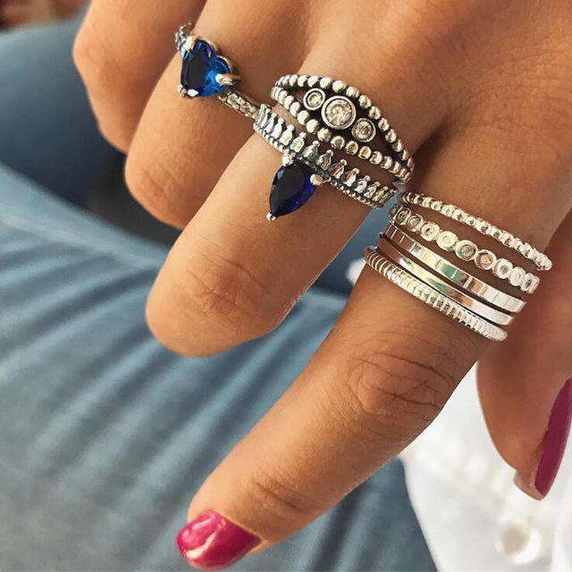 HuaTang Bohemian Antique Silver Ring Geometric Elephant Flower Green Rhinestone Knuckle Rings Midi Finger Anel Rings Jewelry 35