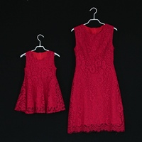 Summer Brand Children Red Dress Kids Girls Evening Party Formal Dresses Mom Baby Lace Dress Mother