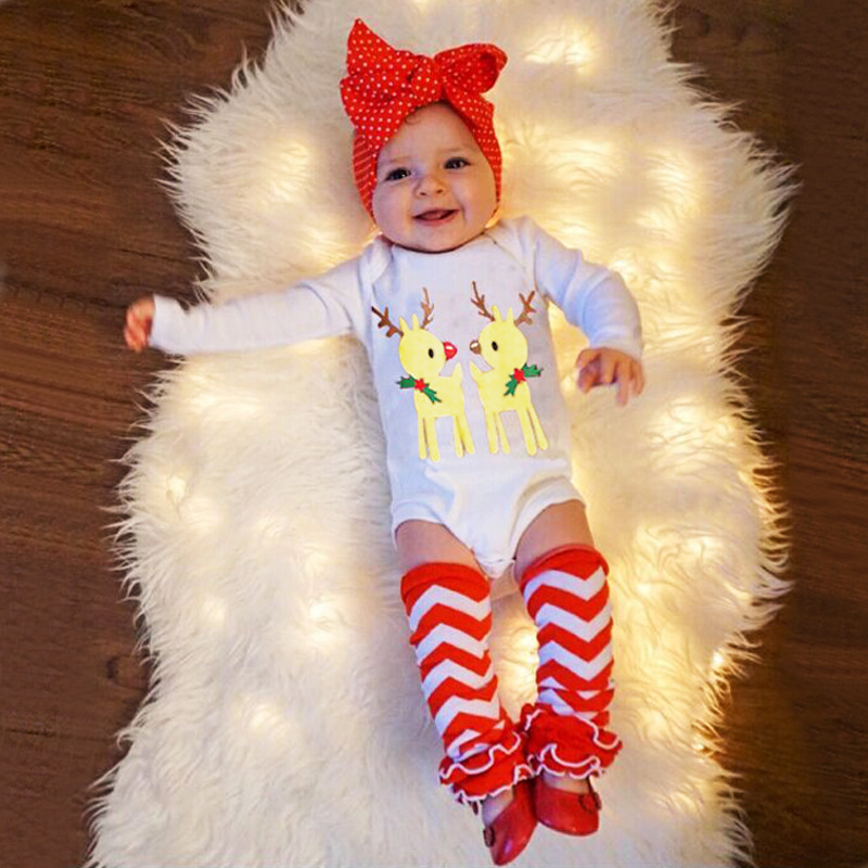 New Christmas Deer Baby Bodysuits Long Sleeve Climb Clothes Socks Headband Festival Gifts New Born Clothing Conjunto Infantil