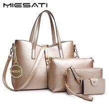 Miesati 4 пакета(ов) комплект Для женщин Сумки на плечо для 2017, женская обувь сумки Сумки с короткими ручками женский Элитный бренд кожаная сумка женская Сумки