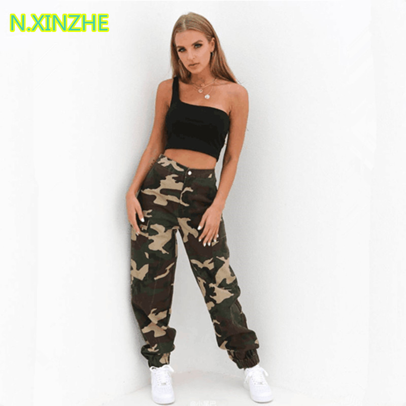 2018 women clothing high waist camouflage relaxed cargo   pants   cotton   capris   Female fashion casual loose straight trousers K1848