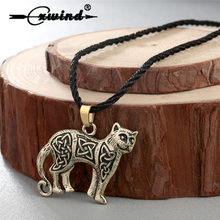 Cxwind Retro Valknut Vikings Amulet Pendant Necklace Irish Knot Animal Cute Cat Necklaces Men Jewelry for Love Pet Gift(China)