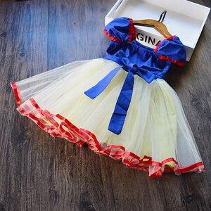 Костюм принцессы белоснежной расцветки для девочек, детские костюмы, детвечерние праздничное платье на день рождения, нарядное платье, лет...