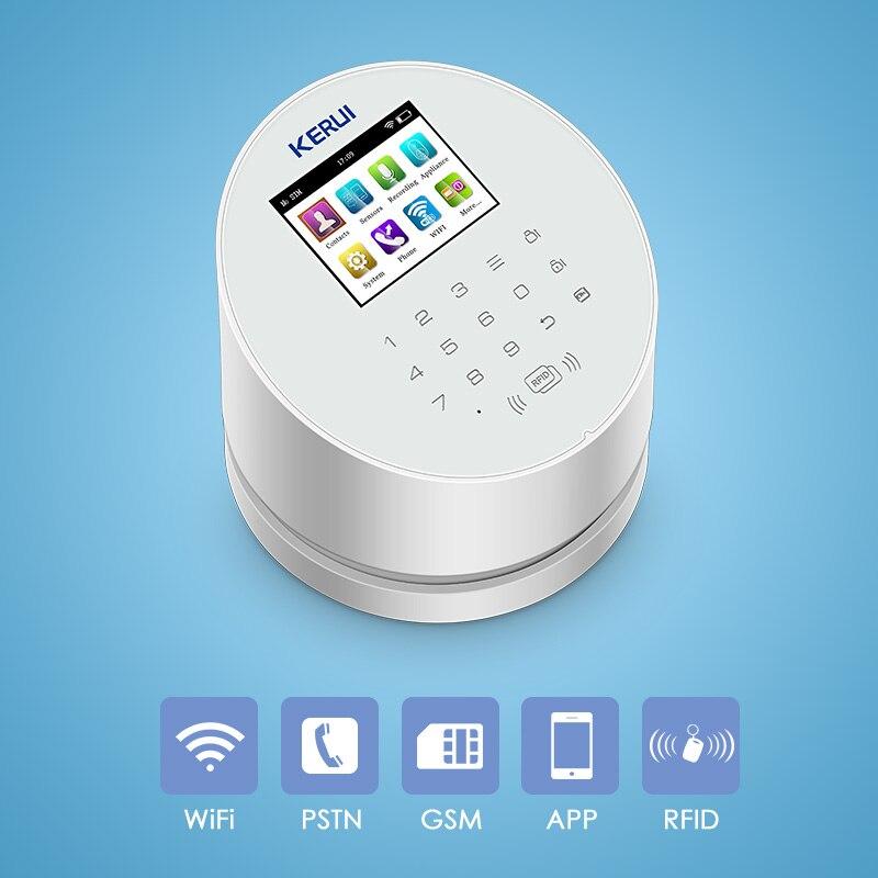 KERUI W2 2.4 Cal ekran WIFI GSM PSTN System alarmowy bezpieczeństwo karta RFID Disalarm wykrywacz ruchu inteligentny domowy System przeciwwłamaniowy