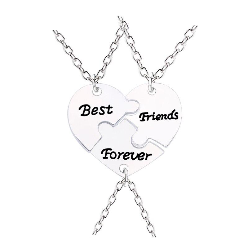 3 Pcs/Set Best Friends Forever Peach Borken Heart Necklace Silver Color BFF Jewelry Creative Keepsake Direct Sales