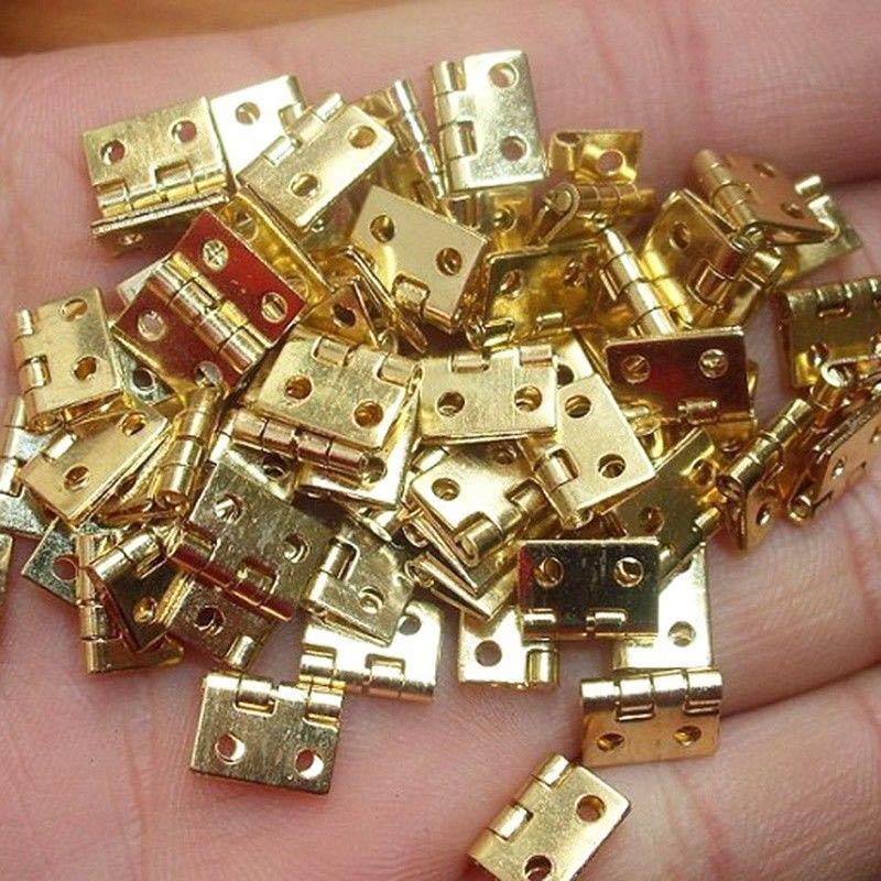 KALASO 20Pcs Pure Copper Mini Flat Small Box Folding Butt Hinges Door DIY Craft Supplies Jewelry Decor 8*10mm (80Pcs Nails)