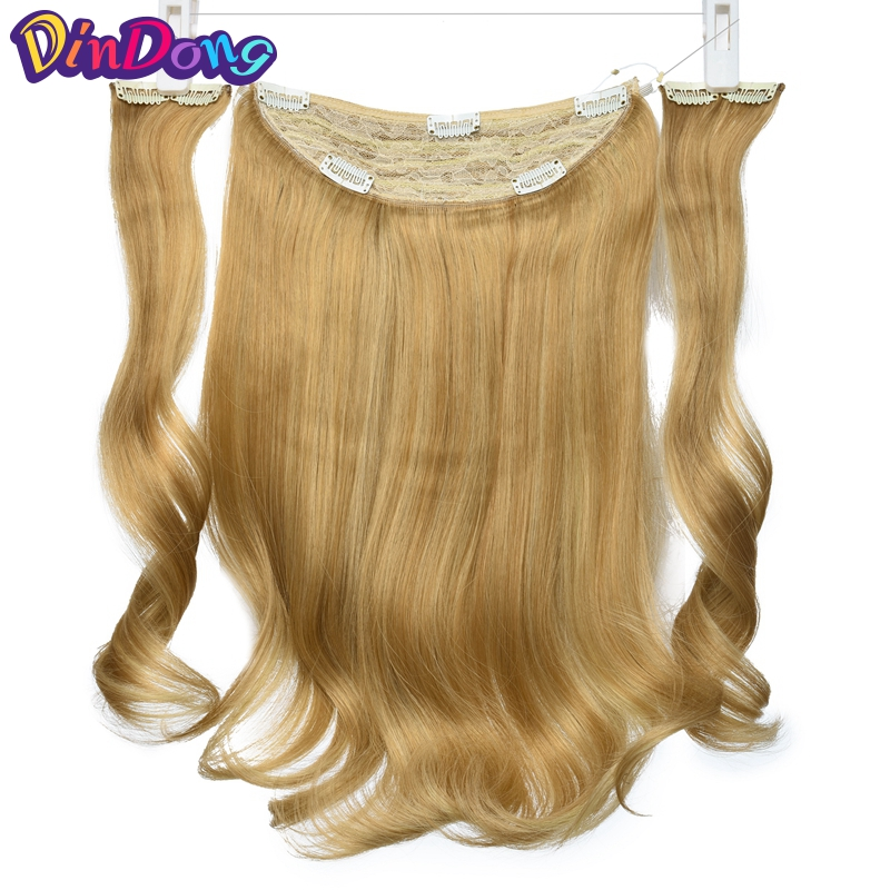 DinDong 18 inch Long Wavy Fish Line Hair Extensions Secret Invisible Hair pieces Clip in Hair Extensions 3 Pieces Extensions