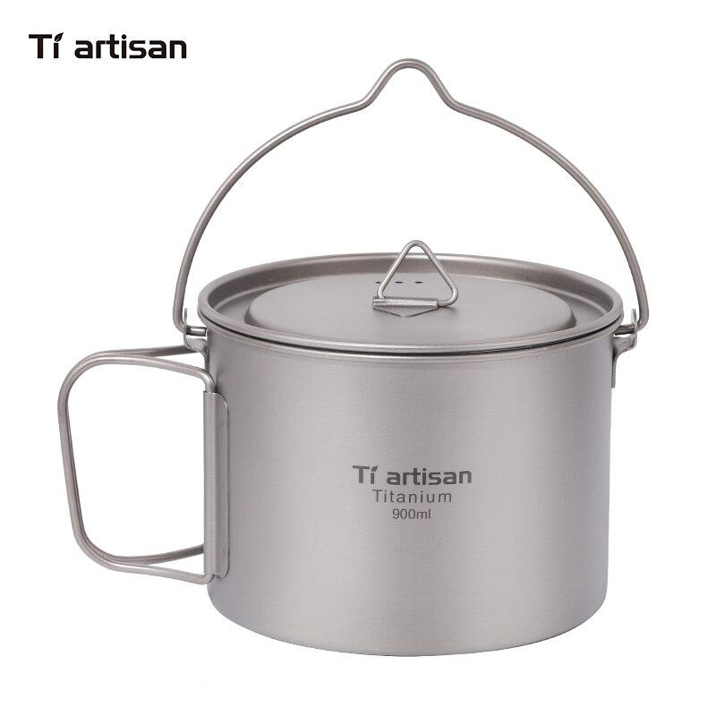 Tiartsian 900 ml titane tasse Pot ultra-léger Portable suspendus Pot avec couvercle et poignée pliable en plein air Camping randonnée sac à dos