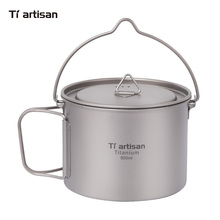 лучшая цена Tiartsian 900ml Titanium Cup Pot Ultralight Portable  Hanging Pot with Lid and Foldable Handle Outdoor Camping Hiking Backpack