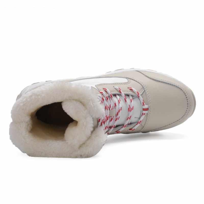 2019 Kadın kışlık botlar su geçirmez kaymaz kar botları kadın kış ayakkabı kalın kürk platformu yarım çizmeler büyük boy 35 -43