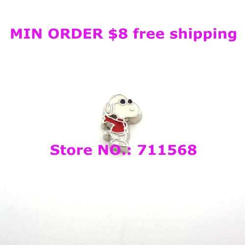 Peanut Dog Style #3 In Red Coat and Wearing Glasses Floating Charm Comic Characters Locket Charm For Floating Lockets