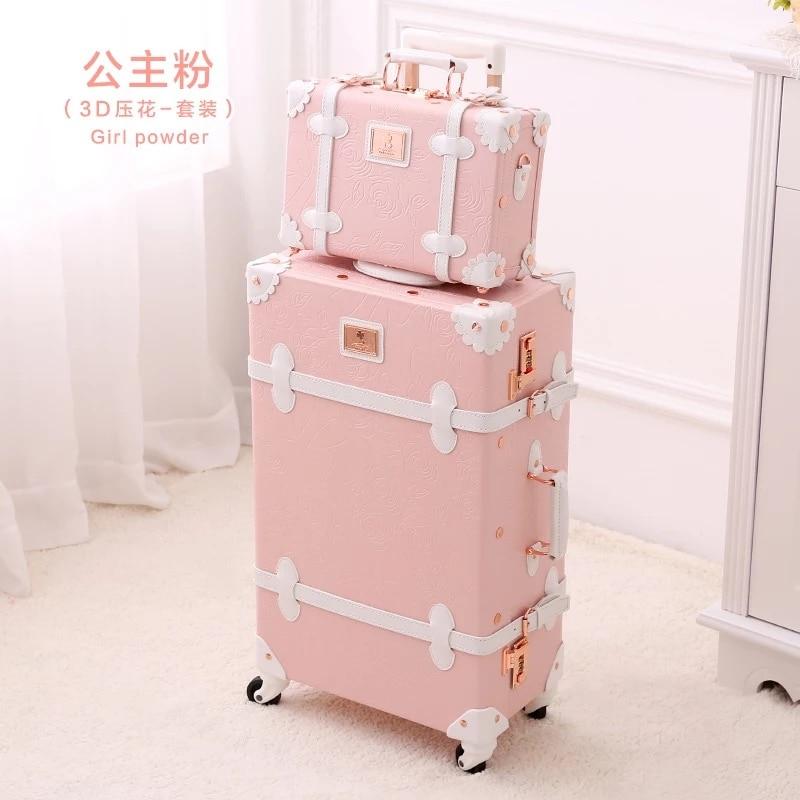 GraspDream Vintage Floral PU Travel Bag Luggage sets 13 20 22 24 26 inch Women Retro