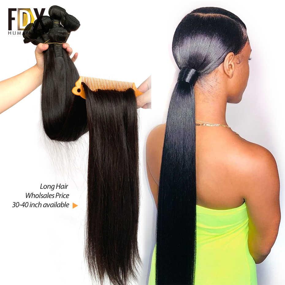 32 34, 36, 38, 40 дюймов длинные человеческие волосы наращивание волос парик FDX индийские sliky прямые волосы пучки 1/3/4 шт. 28 30 дюймов, remy (Реми),