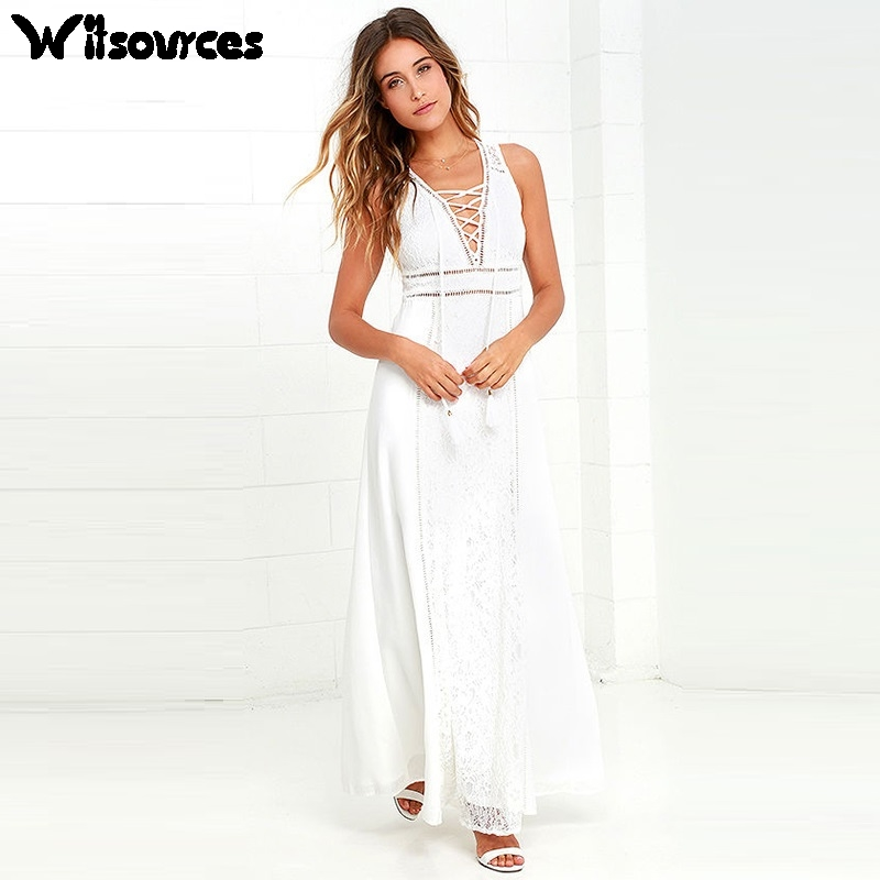Buy Cheap Witsources women sexy beach dresses summer 2017 new bohemian deep V neck backless lace casual white chiffon dress SD3505