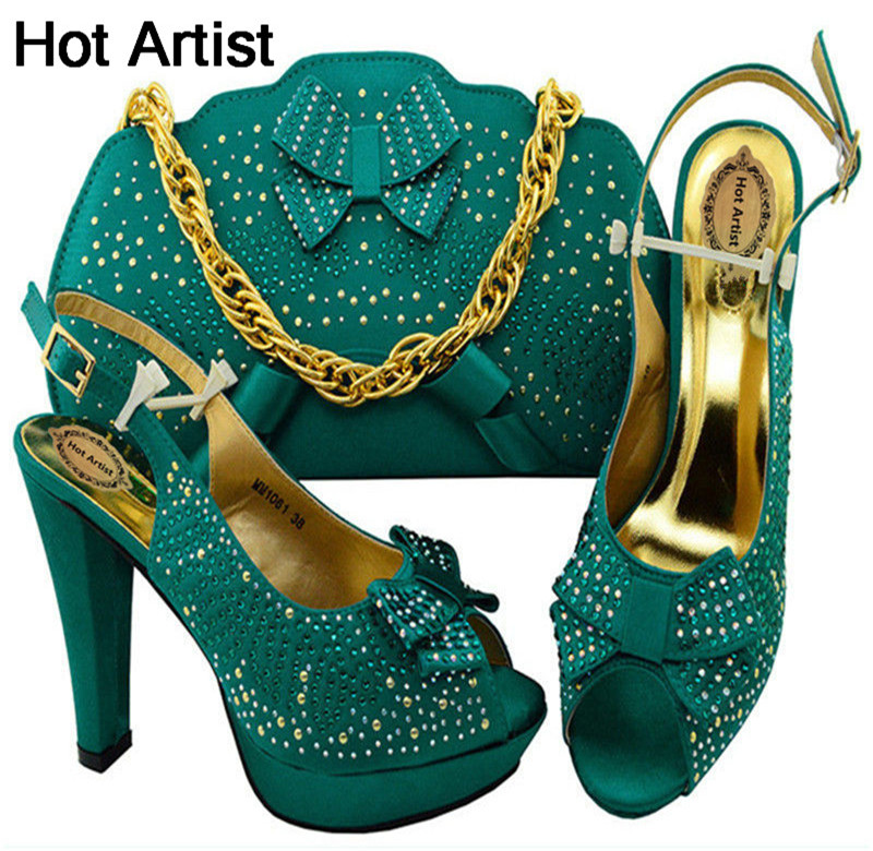 Hot Artist Italian Teal Shoes With Matching Bag High Quality Italy Shoes And Bag Set For Wedding And Party Free Shipping MM1061 silver color italian shoes with matching bag high quality italy shoe and bag set for wedding and party high heels shoes me1102
