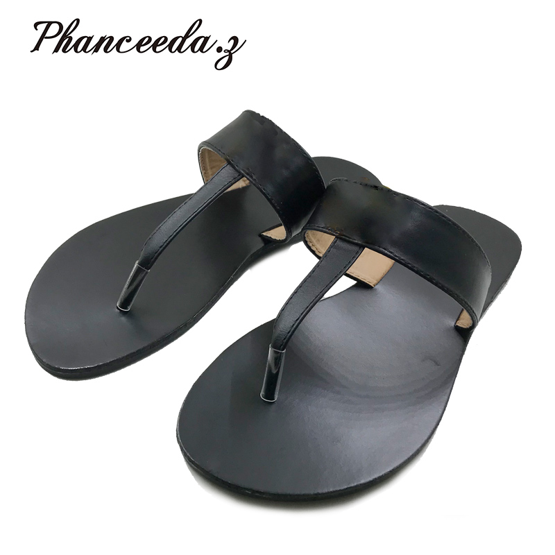 New 2018 Casual Shoes Women Sandals Summer Style Fashion Flip Flops T Quality Flats Solid Sandal Slippers Size 6-10