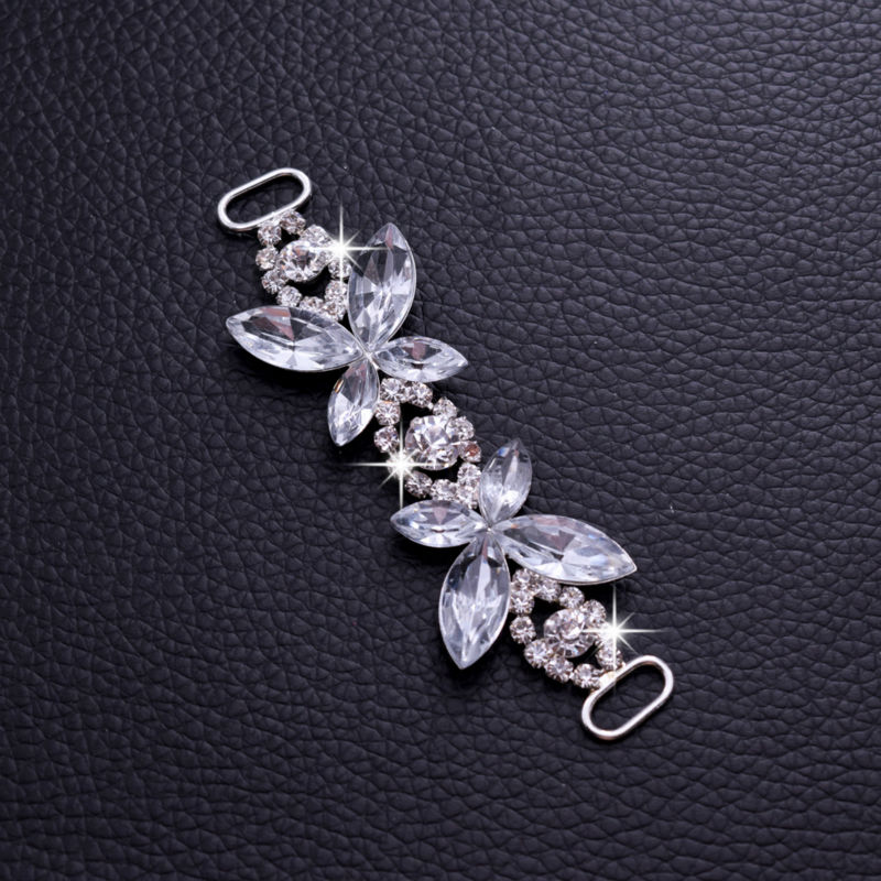 10pcs Butterfly Shining Sexy Rhinestone Bikini Connector Buckle Copper Chain Fit For Pin Up Silver Plated Strass DIY Accessories
