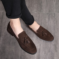 Big Size 37 48 Tassels Genuine Leather Casual Shoes Luxury Black Suede Men Loafers Moccasins Slippers Formal Wedding Dress Shoes