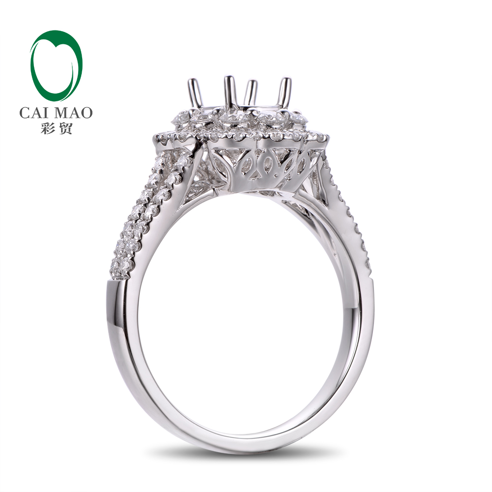 Caimao 14K White Gold Oval 5x7mm 0.93ct Natural Diamonds Engagement - Perhiasan bagus - Foto 2