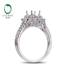 Caimao 14K White Gold Oval 5x7mm 0.93ct Natural Diamonds Engagement Semi Mount Ring