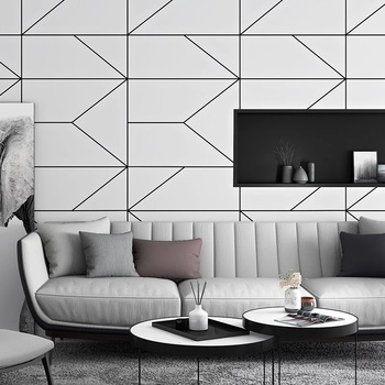 Geometric Wallpaper Roll Modern Creative Black White Striped Non Woven Living Room Bedroom Tv Background Wall Papers Home Decor Leather Bag