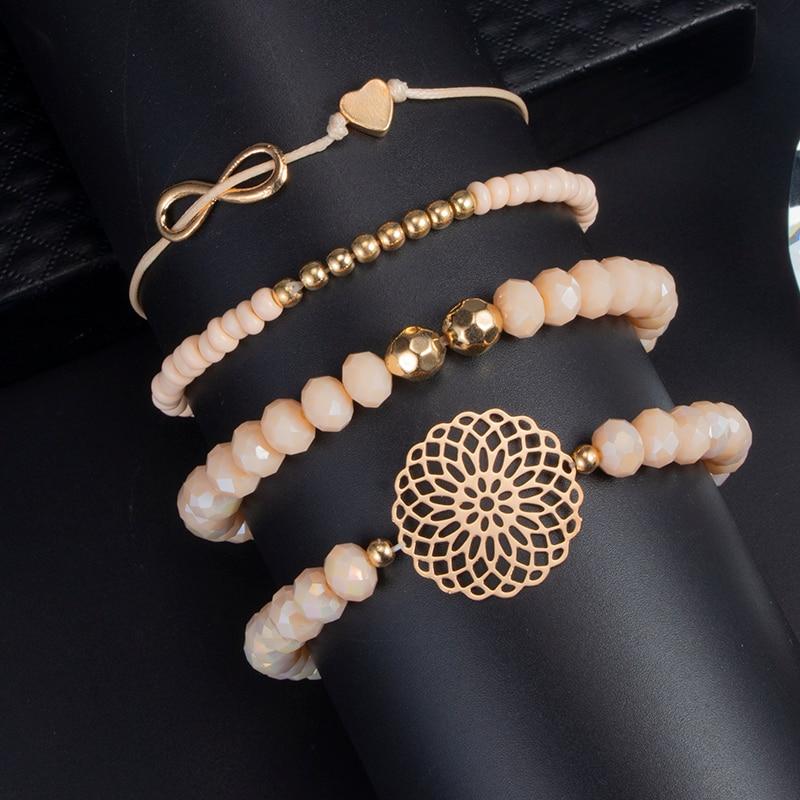 docona Boho Heart Orange Beadeds Bracelet Set for Women Flower Chains Adjustable Bracelet Bangle Pulseiras Party Jewelry 4019 5