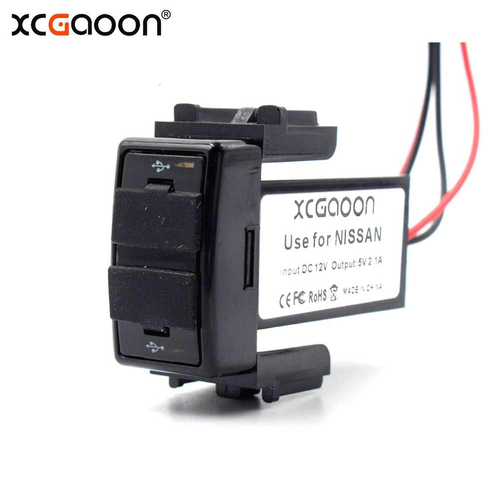 XCGaoon Special 5V 2.1A 2 USB Interface Socket Car Charger Adapter for NISSAN, DC-DC Power Inverter Converter