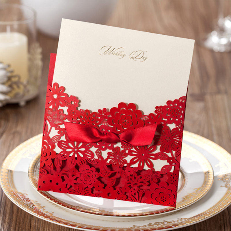 Design Personalized Printing Red Wedding Invitations Cards Blank Paper Card Kit Laser Cut Lace Flower Convite Pack of 50