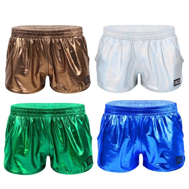 iiniim Mens Shiny Metallic Night Club Party Shorts Elastic Waistban Boxer Shorts Performance Show Summer Clubwear Costume Trunks 5