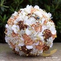 Zroszony Bride gospodarstwa kwiaty, 2018 Nowy Ślub Wstążka Rose Bride Bukiet, różowy niebieski biały szampana fioletowe bukiety ślubne