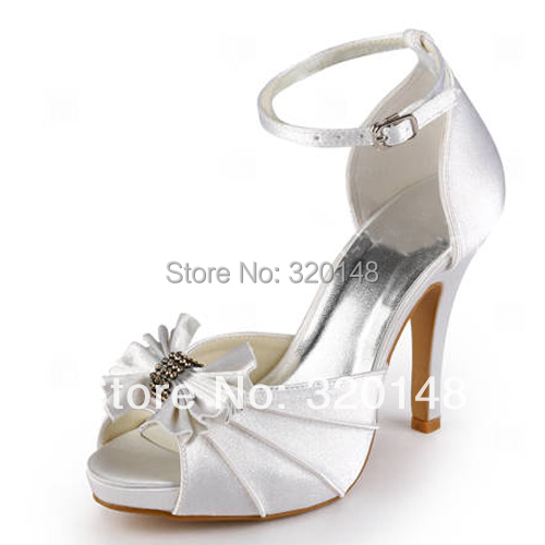 ФОТО Shoes Woman  EP11050-IP Ivory White Peep Toe Pumps Platform Pleated Rhinestones Satin Stiletto Heel Wedding Shoes