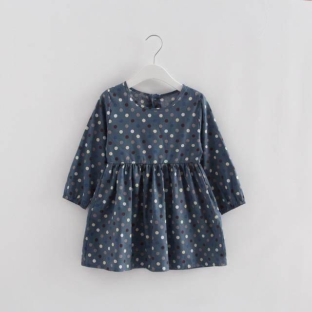 2019 Spring Girl Dress Cotton Long Sleeve Children Dresses Polka Dot Kids Dresses for Girls Fashion Girls Clothing