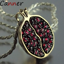 Canner Bohemian Women Statement Necklaces Gold Silver Long Chain Necklace Pomegranate Red Stone Pendant Garnet Gift F4