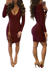 Sexy long sleeve bodycon hollow out dress for crossdressers & shemales