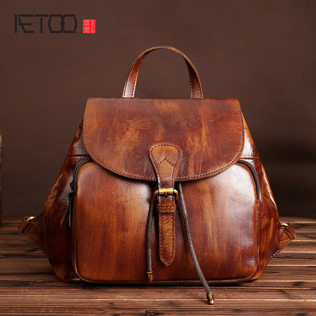 dee0bfd42f AETOO New retro handmade wiping casual leather leather shoulder bag female  models bag