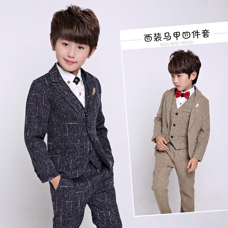 2018 Autunno Inverno Nuovo Coreano costumi di Prestazione Dei Bambini del Vestito del Ragazzo Dei Ragazzi del Vestito di Quattro Pezzi Set2018 Autunno Inverno Nuovo Coreano costumi di Prestazione Dei Bambini del Vestito del Ragazzo Dei Ragazzi del Vestito di Quattro Pezzi Set